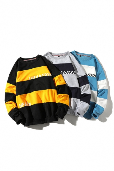 Classic Mens Striped Pattern Colorblock Letter Ihfahflxh Pullover Long Sleeve Round Neck Regular Fit Sweatshirt