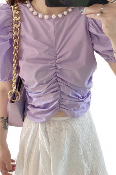 Edgy Girls Puff Sleeve Round Neck Ruched Front Slim Fit Crop T-shirt in Purple