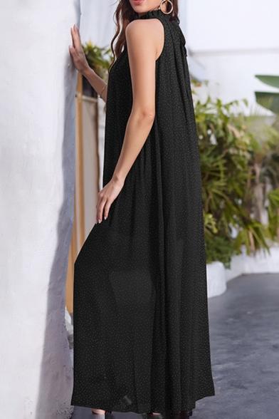 Fashion Womens Plain Polka Dot Print Sleeveless Stringy Selvedge Mock Neck Bow Tied Waist Maxi Pleated Shift Dress