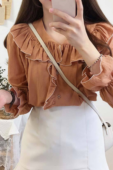 Gorgeous Womens Contrast Piped Ruffled Long Sleeve Peter Pan Collar Button up Plain Relaxed Shirt
