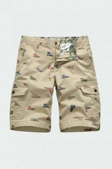 Mens Fancy Shorts Shoes Print Zip-fly Flap Pockets Button Detail Knee Length Straight Fit Chino Shorts