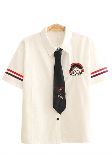 Preppy Girls Cartoon Embroidered Striped Short Sleeve Point Collar Button down Tied Regular Fit Shirt in White