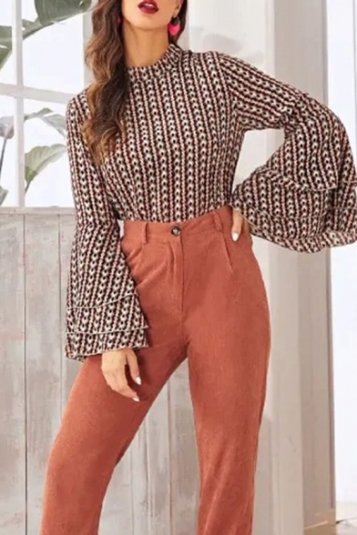 Stylish Ladies Geometric Allover Print Tiered Bell Long Sleeve Mock Neck Regular Fit Blouse in Khaki