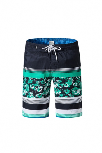 Unique Mens Color Block Floral Print Drawstring Knee Length Regular Fit Shorts with Pocket