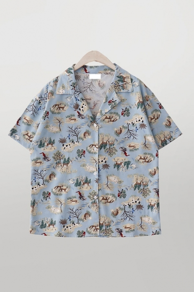 Casual Girls Animals Trees Print Button Down Short Sleeve Lapel Collar Loose Shirt