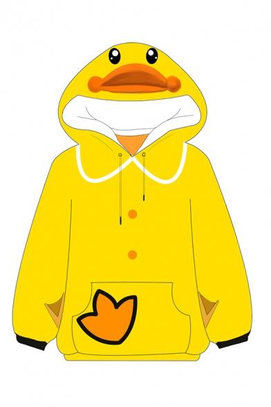 Cute Duck Printed Long Sleeve Drawstring Kangaroo Pocket Loose Fit Hoodie in Yellow