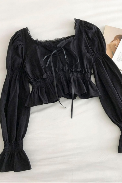 Glamorous Solid Color Pleated Ruffle Cuff Tiered Patched Lace Trim Tie Long Puff Sleeve Square Neck Slim Fit Crop Blouse for Ladies