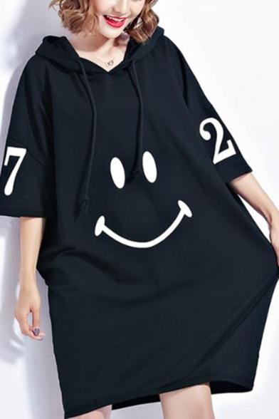 New Fashion Hoodie Long Sleeve Letter Smile Print Ruched Shift Sweatshirt Midi Dress