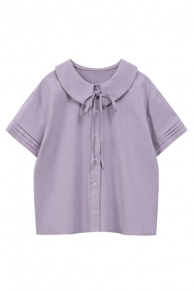 Pretty Womens Plain Pleated Short Sleeve Peter Pan Collar Bow Tied Button-up Loose Fit Shirt Top