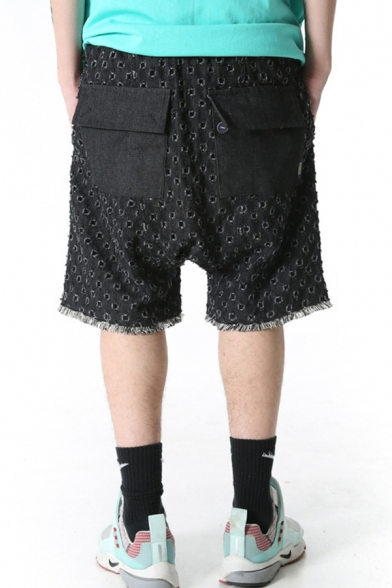 Simple Shorts Ripped Raw Edge Pocket Drawstring Mid Rise Relaxed Fitted Shorts for Men