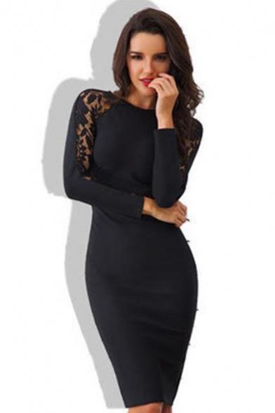 Women's Black Sexy Lace-Insert Long Sleeve Plain Midi Pencil Dress