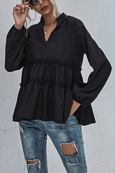 Black Cool Plain Stringy Selvedge Pleated Notched Collar Bishop Long Sleeve Relaxed Fit Peplum Blouse Top for Women