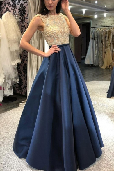 Chic Womens Patchwork Pleated Backless Crew Neck Sleeveless Floor Length Fit&Flare Gown Bronzing in Blue
