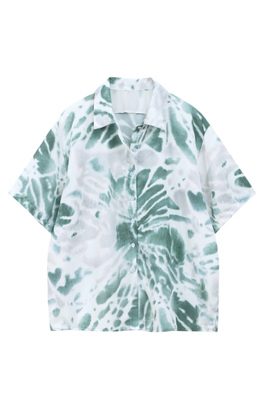 Leisure Womens Tie Dye Printed Short Sleeve Spread Collar Button-up Loose Fit Shirt Top in Green