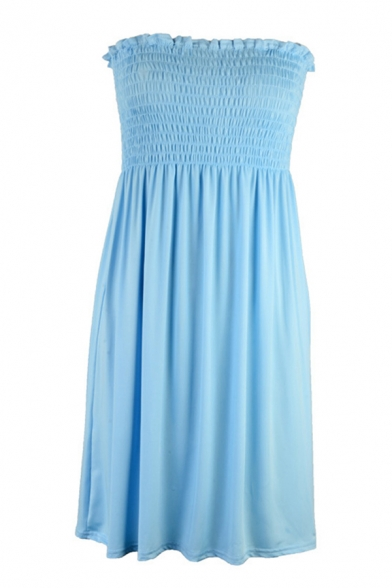 Popular Solid Color Pleated Stringy Selvedge Off the Shoulder Strapless Sleeveless Short Smock Dress for Womens