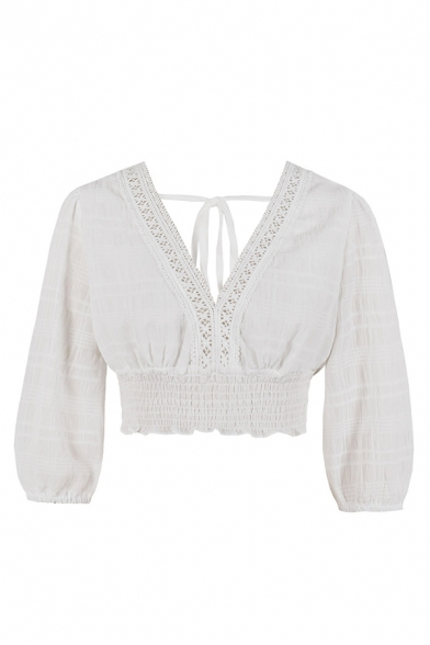 Pretty Ladies Lace Trimmed Bow Tie Back Pleated Long Sleeve V-neck Fit Cropped Top in White