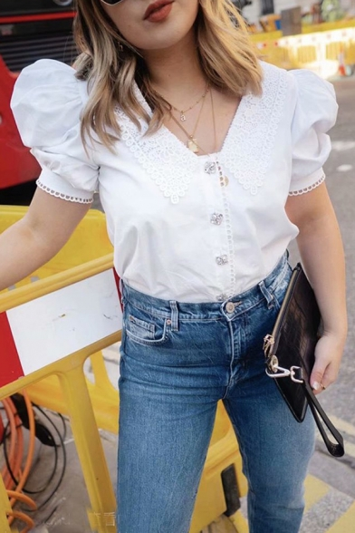 Pretty Ladies Puff Sleeve Point Collar Button Up Relaxed Fit Blouse Top in White