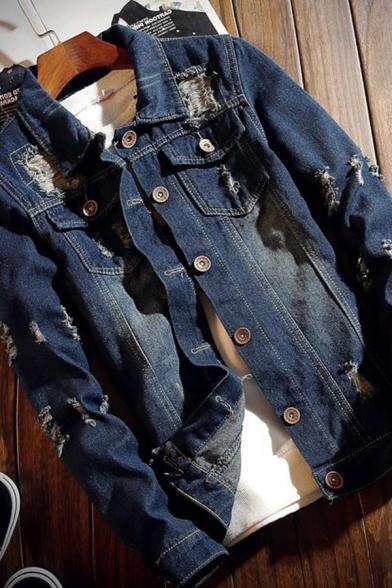Stylish Plain Ripped Detail Lapel Single Breasted Long Sleeve Denim Jacket