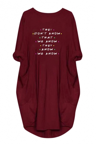 Trendy Girls Letter They Don't Know That We Know Print 3/4 Sleeve Round Neck Tunic Oversize Sweatshirt