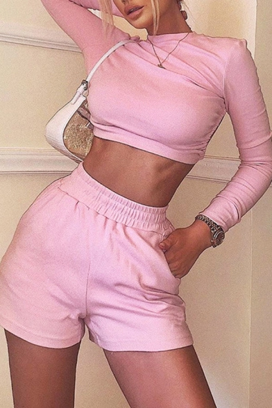 Trendy Plain Long Sleeve Crew Neck Open Back Fit Crop Tee Top & Relaxed Shorts Set