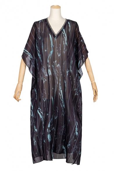 Black Pop Striped Feather Print Split Side V Neck Batwing Sleeve Sunscreen Oversized Midi Kaftan Dress for Women