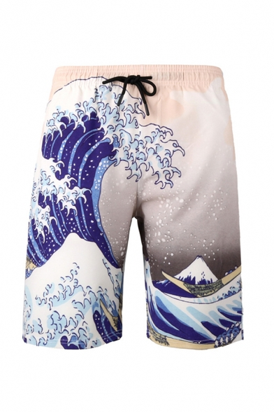 Casual Mens 3D Relax Shorts Geometric Colorful Hexagon Wave Pattern Pocket Drawstring Straight Fit Mid Rise Knee Length Relax Shorts