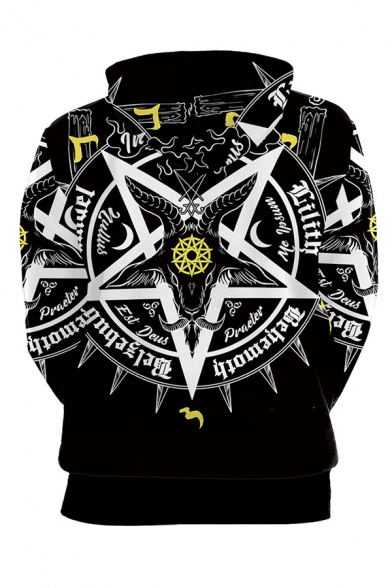 Chic Boys Pentagram Letter Graphic Long Sleeve Drawstring Kangaroo Pocket Relaxed Fitted Hoodie in Black
