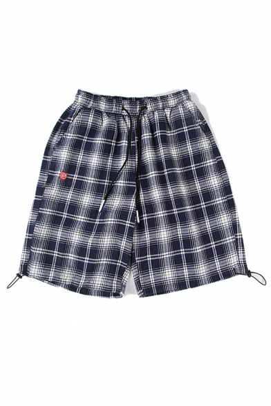 Chic Shorts Plaid Pattern Pocket Drawstring Mid Rise Loose Fitted Shorts for Men