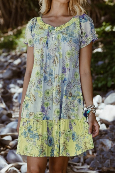 Chic Womens Floral Printed Pleated Button Front Crew Neck Short Puff Sleeve Mini Swing Henley Dress