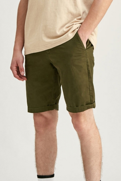 Cool Mens Relax Shorts White Piping Knee-Length Zipper Fly Regular Fitted Relax Shorts