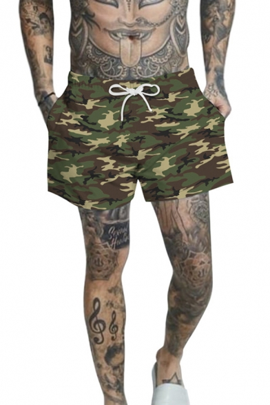 Cozy 3D Mens Relax Shorts Camo Pattern Drawstring Regular Fitted Mid Rise Mid Thigh Relax Shorts