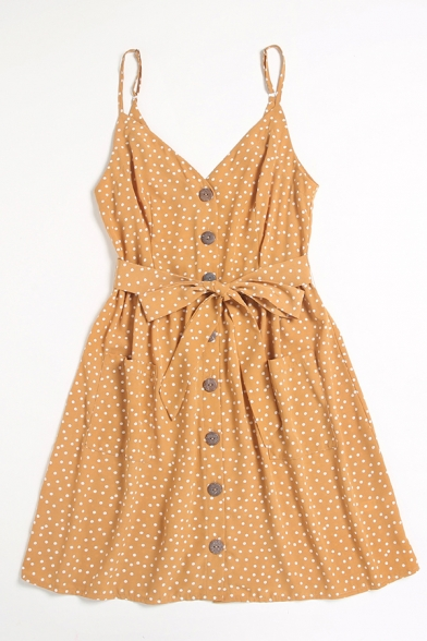 Cute Girls Polka Dot Print Button Up Bow Tie Front Pleated Waist Pockets Open Back Spaghetti Straps Sleeveless Short Cami Dress in Yellow