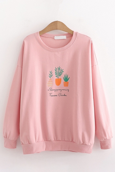 Fancy Girls Plant Graphic Long Sleeve Crew Neck Loose Fit Pullover Sweatshirt