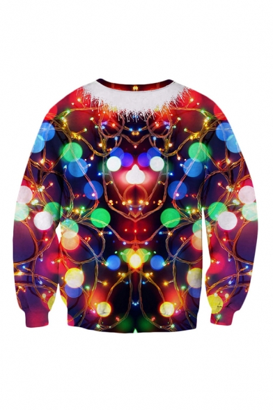Mens 3D Sweatshirt Fashionable Muscle Belt Circle Lens Flare Pattern Round Neck Cuffed Long Sleeve Slim Fitted Pullover Sweatshirt