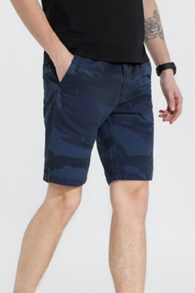 Mens Relax Shorts Fashionable Camo Embroidered Knee-Length Zipper Fly Regular Fitted Relax Shorts