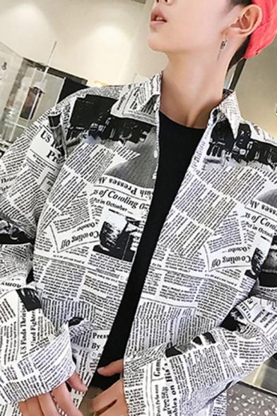 Newspaper Printed Lapel Collar Long Sleeve Buttons Down Shirt