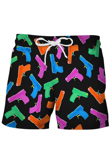 Stylish 3D Relax Shorts All over Colorful Guns Print Drawstring Pocket Straight Fit Mid Rise Mid Thigh Relax Shorts for Men