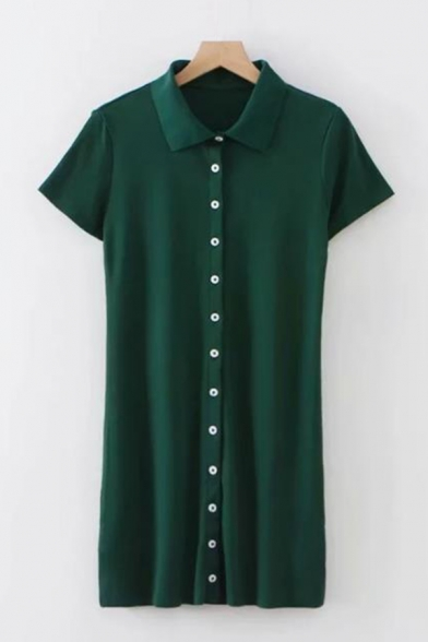 Summer Womens Popular Vintage Green Lapel Collar Short Sleeve Button Down Mini Sheath Polo Dress