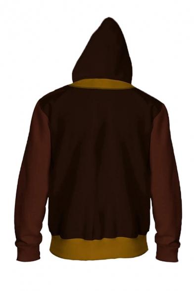 Trendy Mens Contrasted Printed Long Sleeve Zip Up Drawstring Regular Fit Burgundy Hoodie