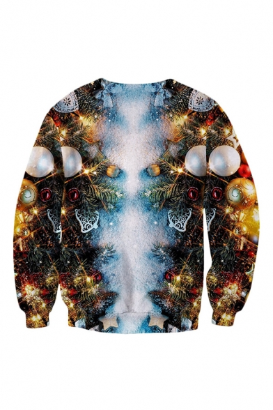 Christmas Mens 3D Pullover Sweatshirt Chest Belt Sparkle Plaid Printed Cuffed Slim Fitted Long Sleeve Crew Neck Pullover Sweatshirt