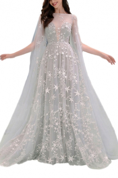 Gray Graceful Womens All over Star Printed Off the Shoulder Sheer Mesh Floor Length Fit&Flare Gown