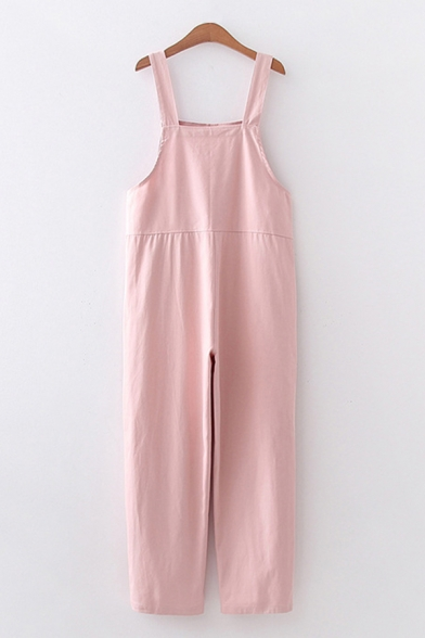 Japanese Letter Cat Embroidered Strap Pocket Patched Ankle Length Straight Lovely Suspender Pants for Girls