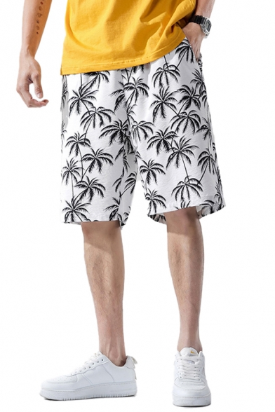 Leisure Mens Shorts All over Tree Printed Pocket Drawstring Mid Rise Oversize Shorts
