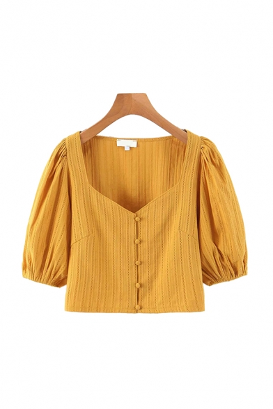 Lovely Girls Puff Sleeve Sweetheart Neck Button Up Knit Regular Fit Crop Blouse in Yellow