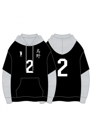 Mens Stylish Black Number Footprint Graphic Contrasted Patched Long Sleeve Drawstring Relaxed Hoodie