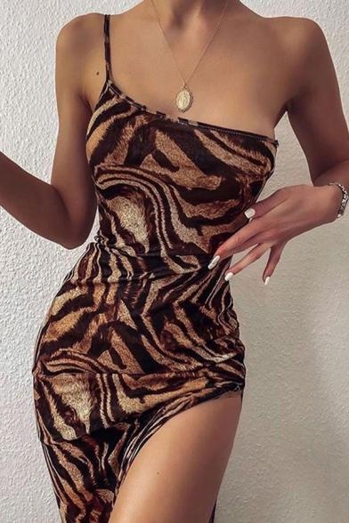 Sexy Womens Tiger Printed One Shoulder Slit Side Short Sheath Cami Dress in Khaki