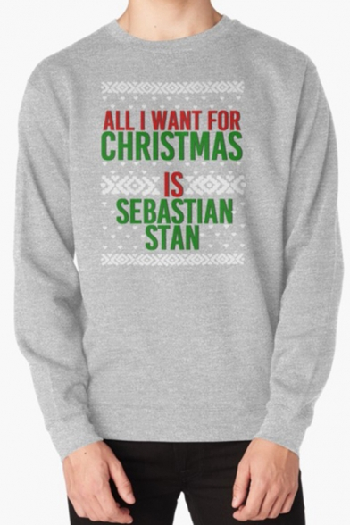 Casual Letter All I Want For Christmas Geo Graphic Long Sleeve Crew Neck Relaxed Pullover Sweatshirt