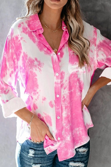 Casual Tie Dye Ombre Printed Hem Pocket Single Breasted Turn Down Collar Long Sleeve Relaxed Fit Tunic Shirt for Womens