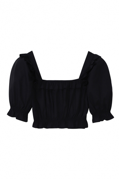 Ladies Chic Black Puff Sleeve Square Neck Stringy Selvedge Regular Cropped Tee Top