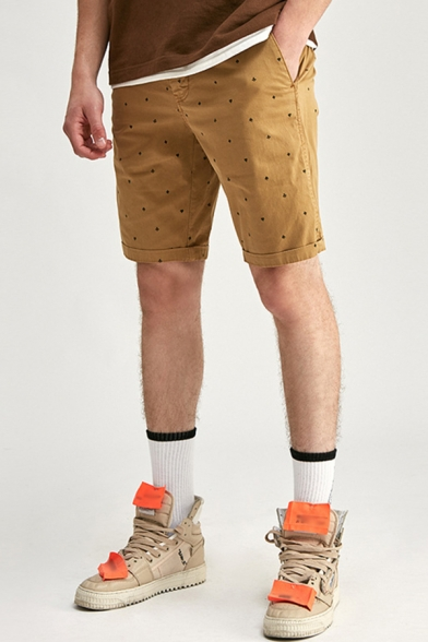 Mens Chinos Shorts Simple Four Suits of Cards Printed Knee-Length Zipper Fly Regular Fitted Chinos Shorts